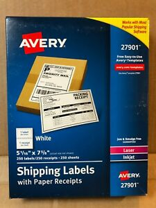 2 Packs Avery 27901 Paper Receipt Shipping Labels 5 1 6 X 7 5 8