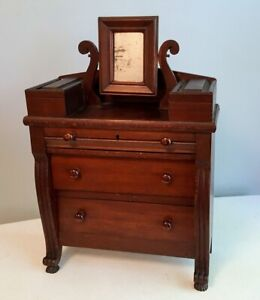 Early Miniature Salesmans Sample Empire Chest Bennington Knobs Carved With Style
