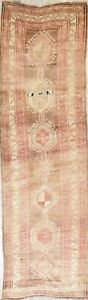 Geometric Ardebil 13 Ft Long Antique Persian Rug Runner Muted Distressed 3 X13