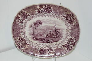Antique Mayer Illustrations Of The Bible Nazareth Purple Transferware Platter