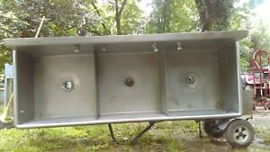 Commercial 3 compartment Stainless Steel Sink 75 1 2 Long X 27 Deep