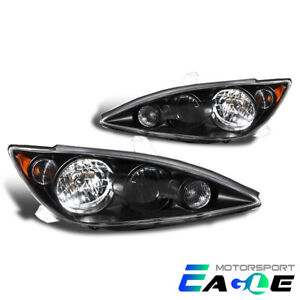 Fit 2005 2006 Toyota Camry Jdm Black Amber Replacement Headlights Pair Set