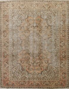 Worn Antique Area Rugs Muted Pale Peach Distressed Wool Rug Hand Made 8 X11
