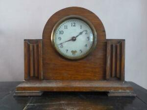 Antique Wooden Mantle Clock The Guildford Enamel And Brass Detail Wind Up Key