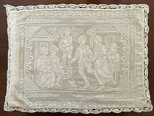Antique Valenciennes Lace People Dancing To Bagpipe Crochet Edging Pillow Cover