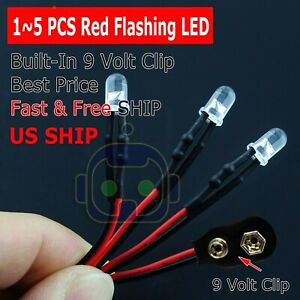 1 5 Lot Pre Wired 5mm Led 9 Volt Red Flashing On Snap 9v Prewired Blink Flashing