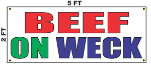 Beef On Weck Banner Sign New Larger Size Restaurant Stand Or Food Truck Diner