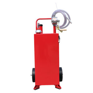 30 Gallon Red Gas Caddy Tank Gasoline Fluid Diesel W Rotary Pump And Hose New