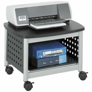Under desk Printer Stand Mobile Office Cart In Black And Silver