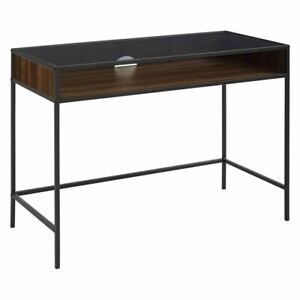 Manor Park Metal And Wood Desk With Glass Top