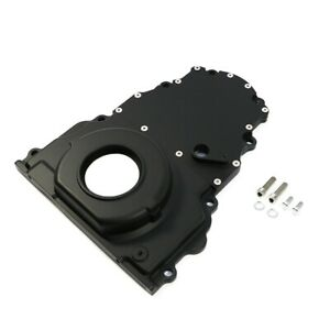Black Aluminum Two Piece Ls Engine Timing Chain Cover Chevy Gm Cam Sensor Hole