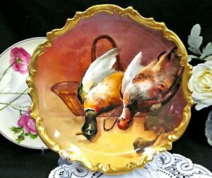 Limoges France Painted Birds Artist Signed Rocco Edges Plate Charger Mallard