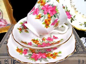 Royal Vale Tea Cup And Saucer Trio Floral Orchid Pattern Teacup Set Pinks