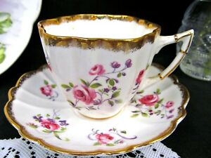 Victoria C E Tea Cup And Saucer Pink Rose Floral Pattern Teacup Swirls Gold Trim