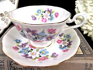 Royal Albert Tea Cup And Saucer Blossom Floral Avon Shape Teacup Wide Mouth