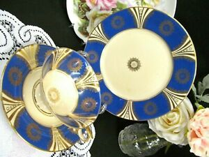 Germany Tea Cup And Saucer Trio Blue And Deco Pattern German Teacup