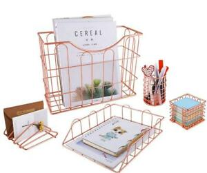 Superbpag Wire Metal 5 In 1 Desk Organizer Set Letter Sorter Pencil