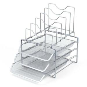 Seville Classics 3 tier Stackable Desktop Letter File Tray Organizer