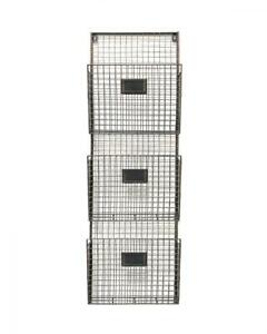 Designstyles Wall Hanging 3 Tier File Holder Mounted Metal Wire Magazine
