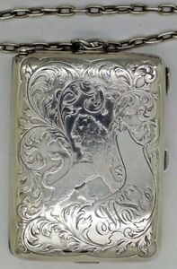 Blackinton Rare Sterling Silver Aide Memoir Card Case Box Art Nouveau