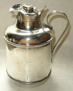 Vintage Glass Insulated Silver Plated 1 Quart Pitcher Made In Italy By Standard