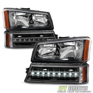 Blk 2003 2006 Chevy Silverado 1500 2500 Headlights Led Drl Bumper Signal Lights