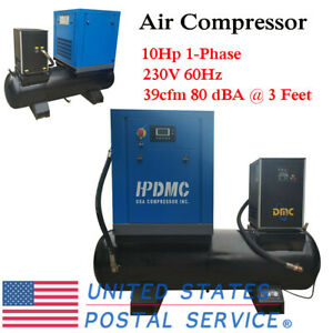 Hpdmc 230v Air Compressor Rotary Screw 80 Dba 3 feet 1 phase W 80 Gallon Tank