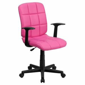 Flash Furniture Mid back Quilted Vinyl Swivel Task Chair With Nylon Arms Pink