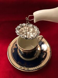 Roaring 20 S Sterling Silver Basket Tea Strainer Circa 1925