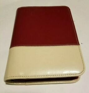Franklin Covey 1 5 7 Ring Binder 2 Tone Zipper Compact Leather Red Beige