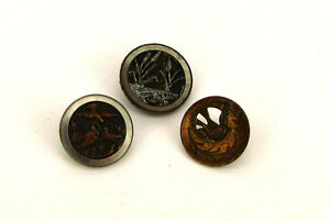 3 Antique Victorian Era Pictorial Picture Button Brass Birds Swans Nature