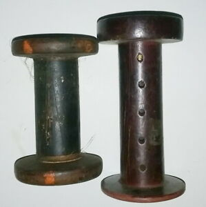 Two Small Antique Spool Thread Or String Holders 3 7 8 And 4 7 8
