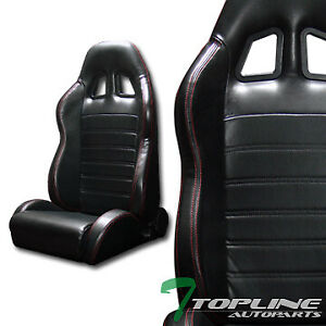 Topline Universal 2x Sp Pvc Leather Red Stitch Racing Bucket Seats slider black