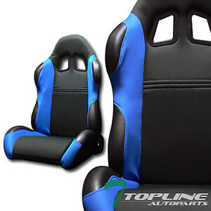 Ts Sport Blk blue Cloth Fabric Reclinable Car Racing Bucket Seats slider L r T01