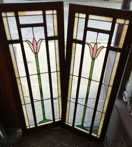 Pair Of Antique Stained Leaded Glass Cabinet Doors W Panels 51 X 21