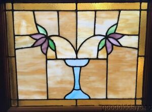 Classic Chicago Bungalow Stained Leaded Glass Window 2 Flowers W Vase 30 25