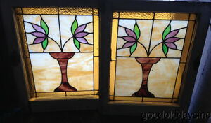 Antique Pair Of Chicago Bungalow Stained Leaded Glass Windows 25 By 20