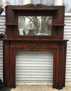 Antique Oak Fireplace Mantel With Mirror And Shelves