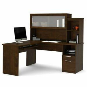 Bestar Dayton L shaped Desk With Hutch Chocolate Brown