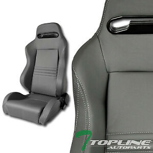 T R Sport Gray Stitch Pvc Leather Reclinable Racing Bucket Seats Slider Pair T01