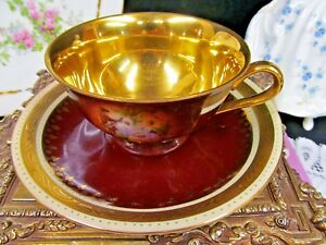 Germany Beehive Tea Cup And Saucer Courting Couple All Gold Inside Teacup Set
