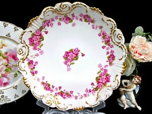 Limoges France Large Charger Pink Rose Carnation Swags Scalloped Platter