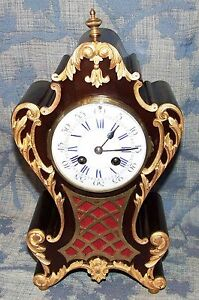 French Antique Mahogany And Ormolu Bracket Mantel Clock Japy Freres