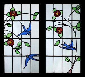Beautiful Art Deco Mackintosh Roses S With Bluebirds Pair Stained Glass Windows