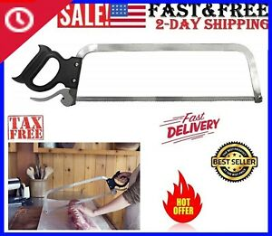 Butcher Saw Meat Cutter Sturdy Stainless Steel Blade Bones Game Easy Fast 22inc