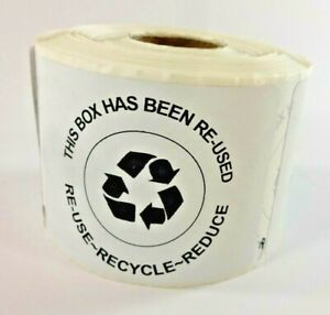 400 Qty This Box Has Been Re used Is Recycled Reduce Shipping Label Stickers