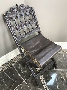 Rare 150 Year Old Italian Carved Walnut Folding Chair From Venice