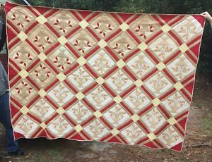 Carolina Lily Antique Quilt Southern Cotton Summer Hand Quilted Applique 63x92