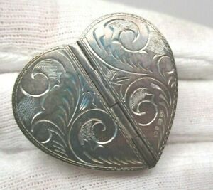 British Sterling Silver Hallmark 2 Side Heart Shaped Pill Box Hand Engraved