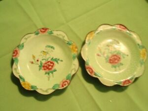 Antique Cloisonne Bronze Enamel Plate Lotus Flower And Bird Center Lot Of 2